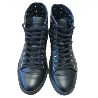 Versus  black leather high top trainers with rivet studs