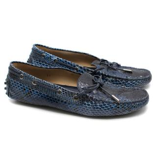 Tods Blue Snakeskin Loafers