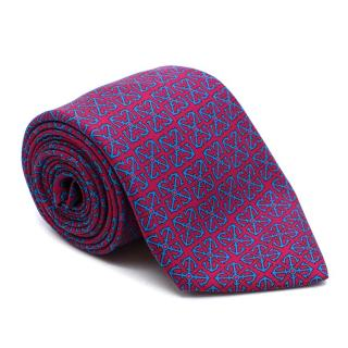 Hermes fuchsia anchor pattern tie
