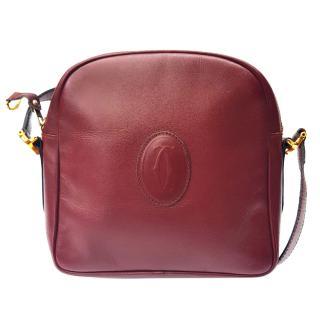 Must de Cartier Vintage Burgundy Leather Unisex Shoulder Bag.