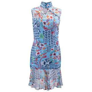 Shanghai Tang Blue Floral Printed Dress