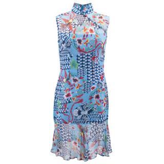 Shanghai Tang Blue Floral Printed Dress