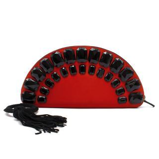 Shanghai Tang red satin silk clutch