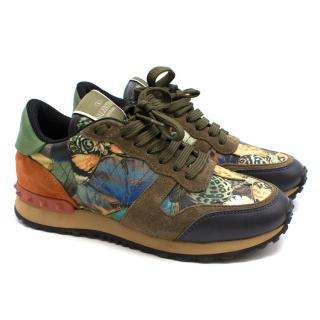 Valentino khaki butterfly print leather sneakers