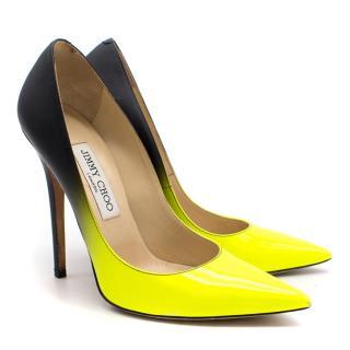 Jimmy Choo Black and Neon Yellow Court Heels