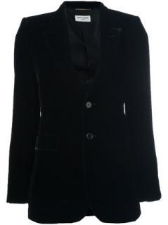 Saint Laurent Angle  Black Velvet Blazer Size 40