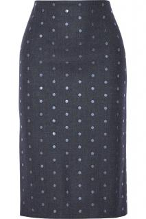 Brunello Cucinelli Gray Sequin-embellished Wool-blend Skirt