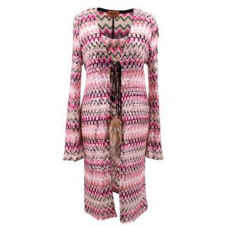 Missoni pink patterned/ sequin embellished top and cardigan set