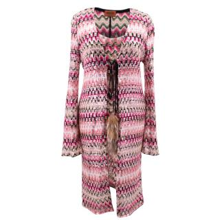 Missoni pink patterned/ sequin embellished top and cardigan set
