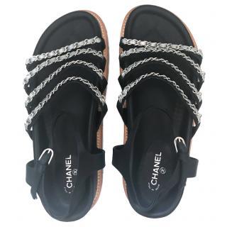 Chanel 2015 Satin Chain-Link Sandals