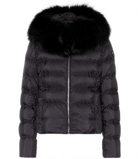 PRADA Black Puffer Jacket with fox fur collar