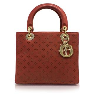 Dior Lady Dior limited edition laser cut red top handle bag