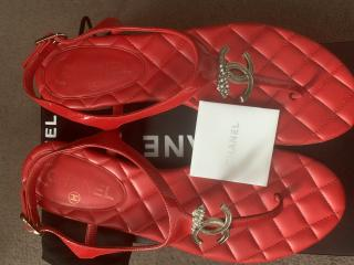 Chanel  red thong sandals