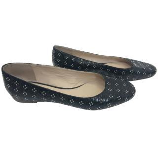 Chloe Python Skin Studded Ballerina Shoes