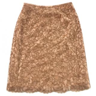 Escada orange lace skirt size 8
