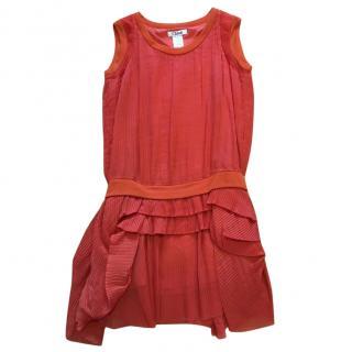 Chloe orange silk drop waist dress
