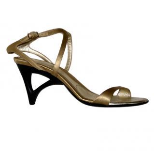 Hogan gold wedge heel  sandals