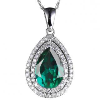 14K white gold pendant with Natural Green emerald & 56 Diamonds