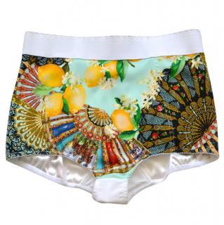 Dolce & Gabbana printed high-waisted silk shorts