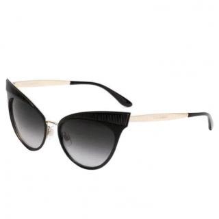 Dolce and Gabbana cat eyes sunglasses matte black gold