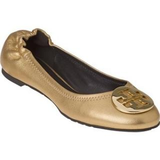 Tory Burch Gold Leather Reva Flat Shoes
