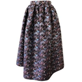 MSGM blue floral pattern full skirt
