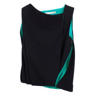 Balenciaga Black and Green Silk Blend Top