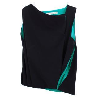 Balenciaga Black and Green Silk Blend Top