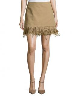 Brunello Cucinelli cotton-linen blend feather trim mini skirt