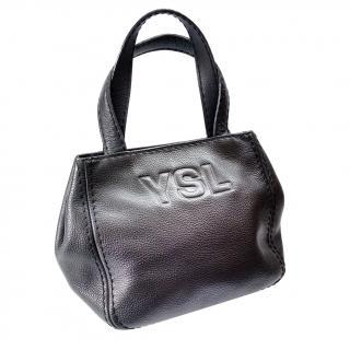 YSL Bag. Yves Saint Laurent Vintage Black Leather Bag.