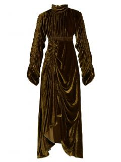 Preen by Thornton Bregazzi velvet green runway dress