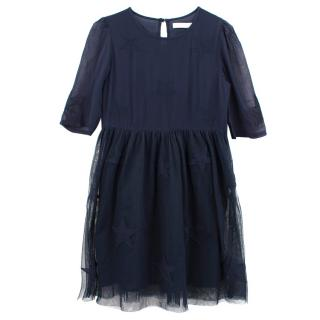 Stella McCartney navy star print tulle dress
