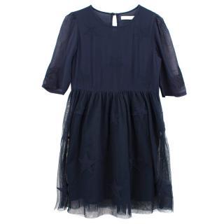 Stella McCartney navy star print tulle dress