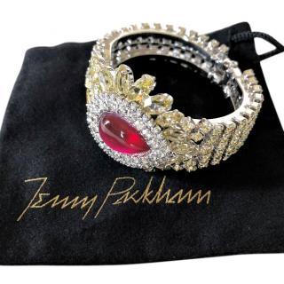 JENNY PACKHAM red centre crystal silver Swarovsky cuff bracelet