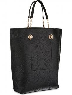 Sophia Webster Izzy Butterfly Embossed Black Leather Tote Bag