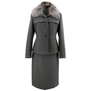 Prada Grey Suit Jacket with Fur Collar and Skirt