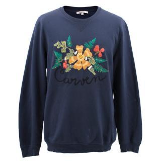 Carven Navy Melange Botanical Embroidered Sweatshirt