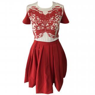 PREEN by THORNTON BREGAZZI sunshine beaded stretch-crepe dress in red