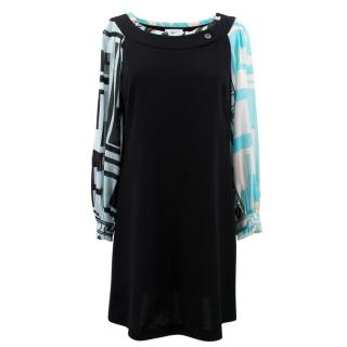 Emilio Pucci Black and Blue Patterned Dress