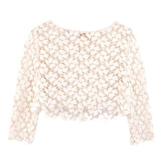 Oscar De La Renta off white floral lace cropped top jacket
