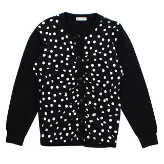 Dolce and Gabbana black and white polka dot cardigan