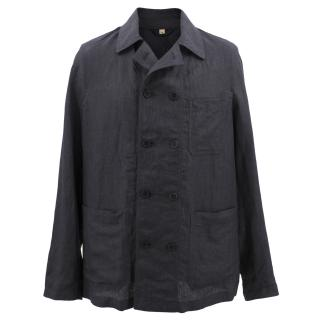 Burberry Linen Double-breasted Artist Jacket Charcoal