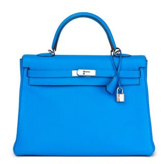 Hermes Kelly -  Blue Hydra Clemence Leather 35cm Retourne