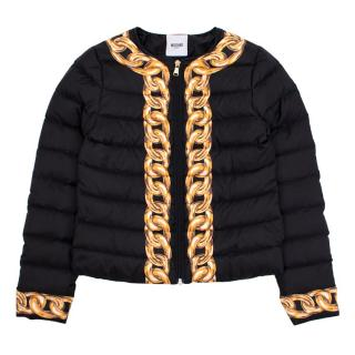 Moschino Teens Quilted Jacket with Chain Detail