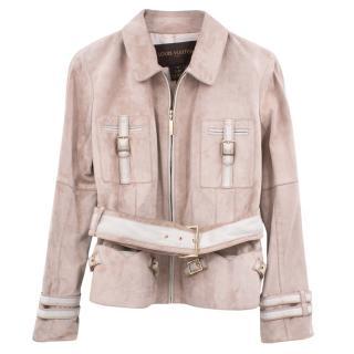 Louis Vuitton beige suede belted jacket