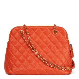 Chanel Quilted Orange Caviar Leather Vintage Timeless Shoulder Bag