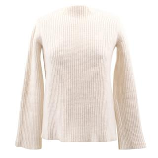 The Row Cashmere Ribbed Cream Jumper