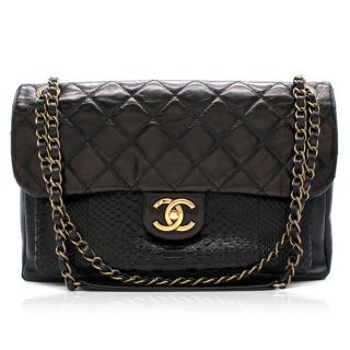 Chanel Black Classic Flap Bag with Snakeskin Exterior Pocket