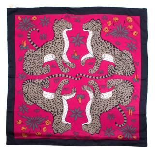 Hermes fuchsia leopard print silk scarf