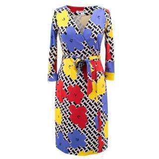 Diane von Furstenberg Andy Warhol Print Wrap Dress